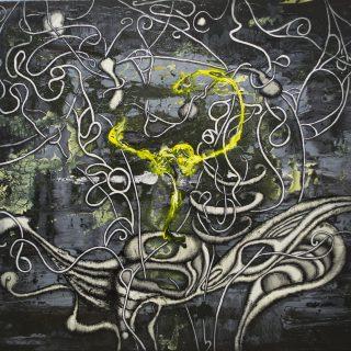 `3.36` 90×100 cm Acrylic an monotype on canvas 2017 Wojtek Wieckowski