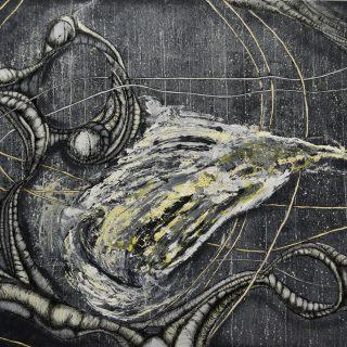 `7.12` 120x160cm Akryl i Monotypia na płótnie 2017
